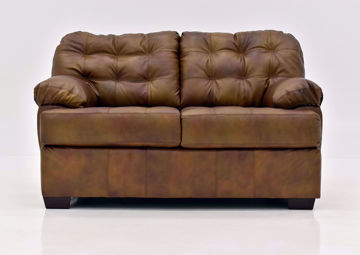 Chocolate Brown Soft Touch Leather Loveseat by Lane Furnishings Facing Front   Home Furniture Plus Mattress