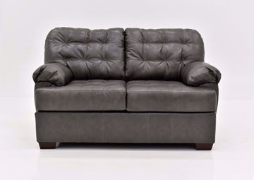 Dark Gray Leather Soft Touch Leather Loveseat Facing Front   Home Furniture Plus Mattress
