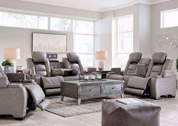 Gray Leather Man-Den Power Reclining Sofa Set by Ashley Furniture Showing a Room Setting | Home Furniture Plus Mattress
