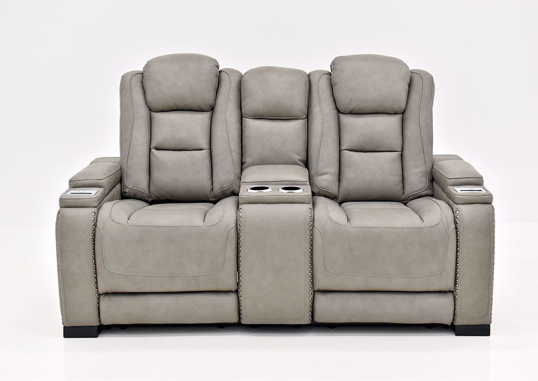 Picture of: Man Den Power Reclining Loveseat Gray Home Furniture Plus Bedding