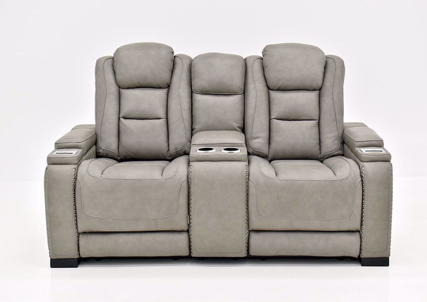 Gray Leather Man-Den Power Reclining Loveseat by Ashley Furniture Front Facing | Home Furniture Plus Mattress