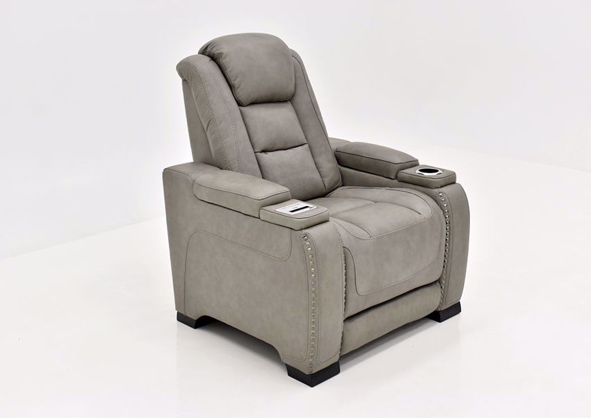 Gray Leather Man-Den Power Recliner by Ashley Furniture at an Angle | Home Furniture Plus Mattress