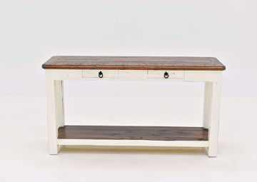 Rustic White Sierra Sofa Table by Texas Rustic Facing Front | Home Furniture Plus Mattress