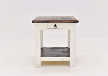 Rustic White Sierra End Table by Texas Rustic Facing Front | Home Furniture Plus Mattress