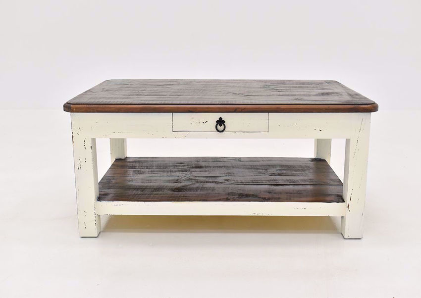 Rustic White Sierra Coffee Table by Texas Rustic Facing Front | Home Furniture Plus Mattress