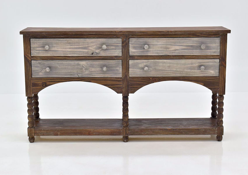 Hazel 4 Drawer Accent Console Table with Rustic Brown Finish | Home Furniture Plus Bedding