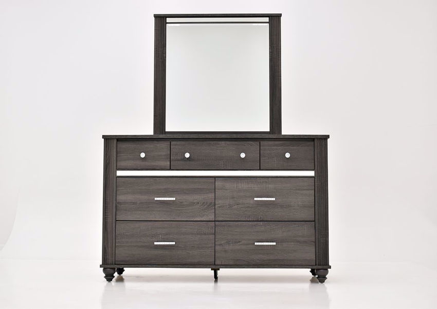 Gaston Dresser with Mirror by Crown Mark with Gray Finish | Home Furniture Plus Bedding