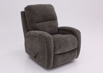 Gray Laurence Swivel Glider Recliner at an Angle | Home Furniture Plus Mattress