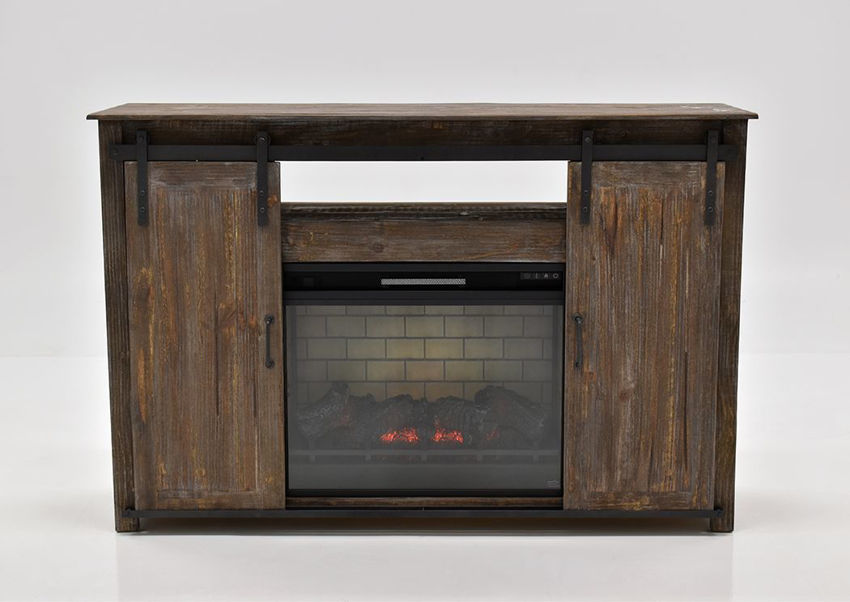 Front Facing View of the Maverick TV Stand with Fireplace with a Barnwood Finish | Home Furniture Plus Bedding