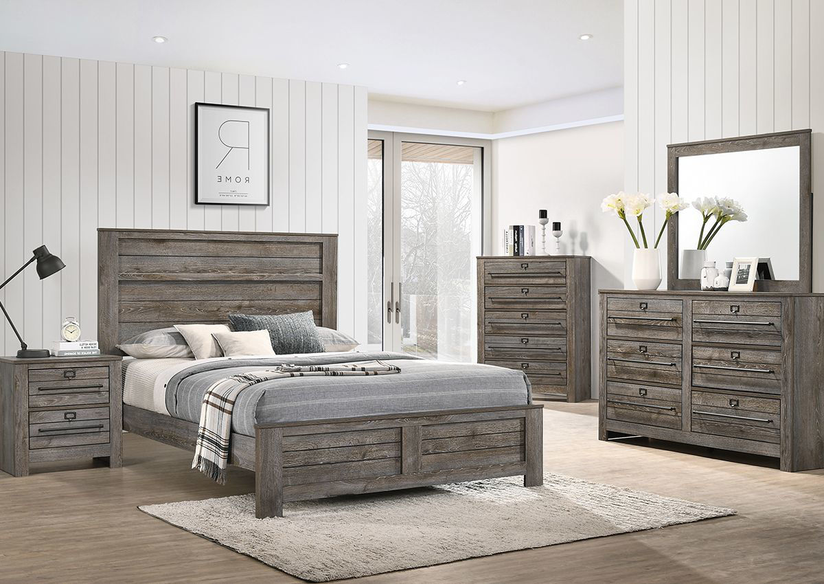 Bateson Queen Size Bedroom Set Brown With Gray Home Furniture Plus Bedding