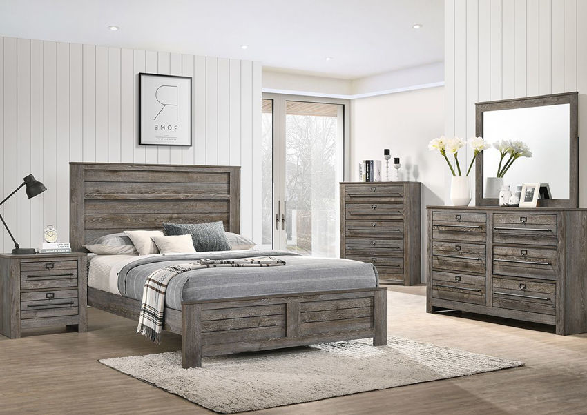 Room Shot of the Bateson Bedroom Set by Crownmark Includes Queen Bed, Dresser with Mirror and One Nightstand | Home Furniture Plus Bedding