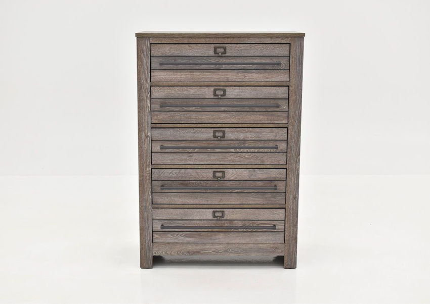 Bateson Chest of Drawers with Brown Finish and Gray Highlights | Home Furniture Plus Bedding