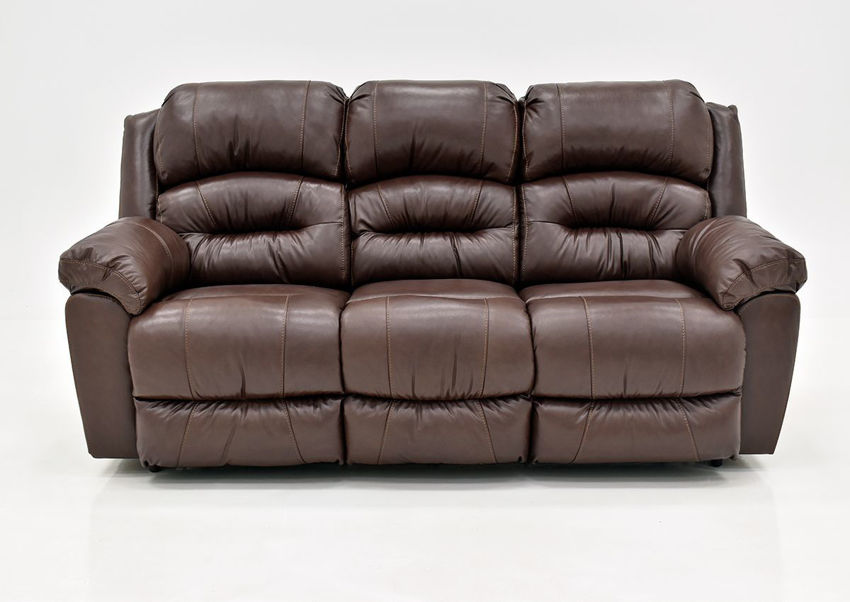 Brown Bellamy Leather Reclining Sofa by Franklin Furniture Showing the Front View, Made in the USA | Home Furniture Plus Bedding