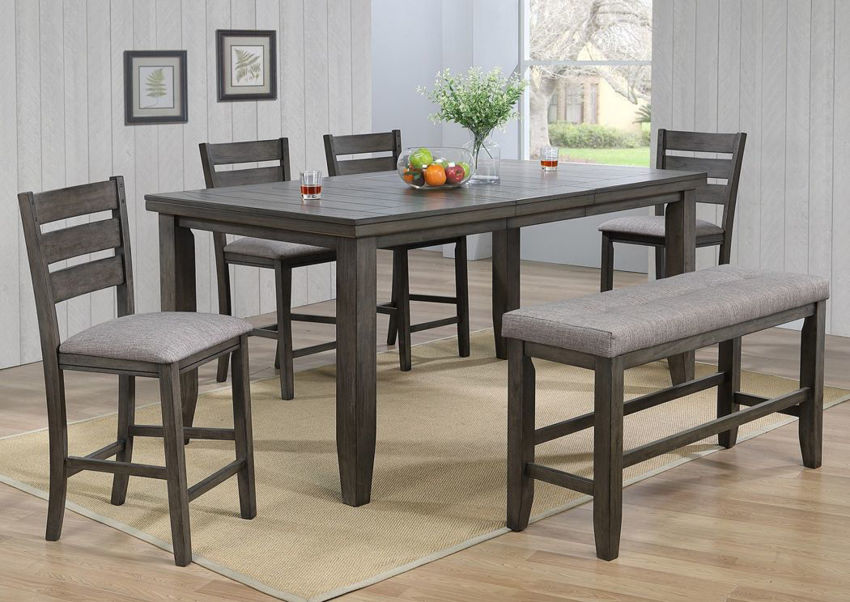 Dark Gray Bardstown Counter Height Dining Table Set in a Room Setting | Home Furniture Plus Bedding
