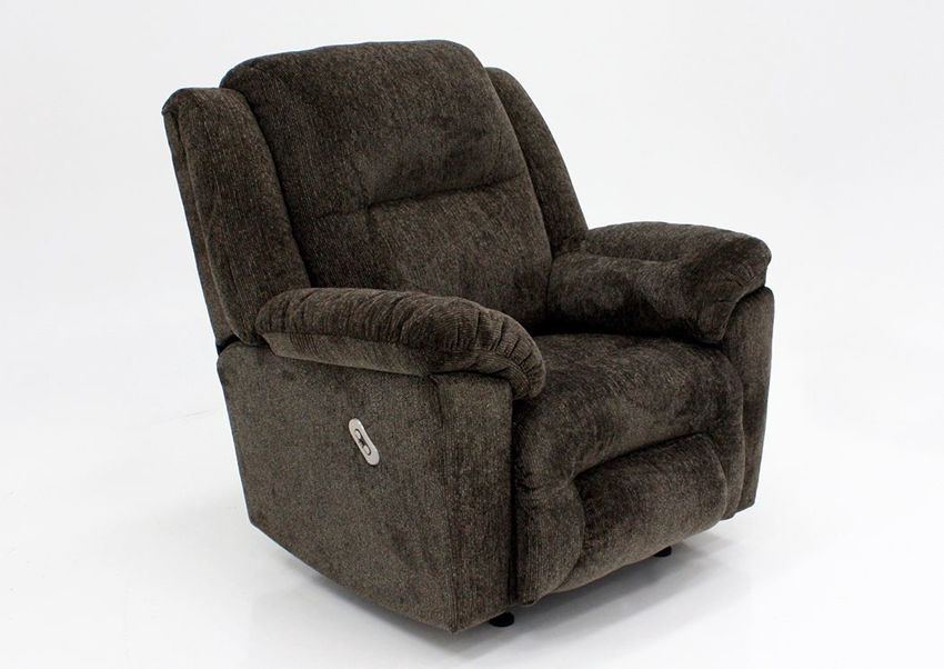 Dark Brown Microfiber Upholstered Donnelly Power Activated Recliner by Franklin | Home Furniture + Mattress