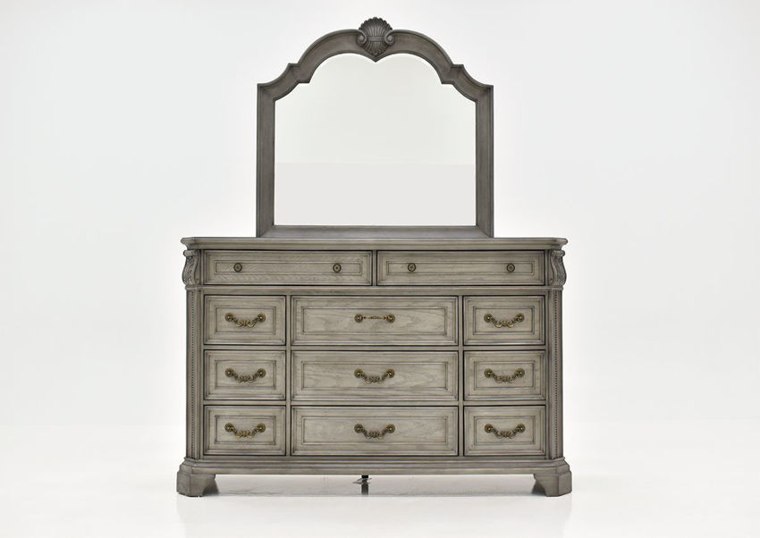Gray Siena Dresser with Mirror by Avalon Furniture, Facing the Front | Home Furniture Plus Bedding