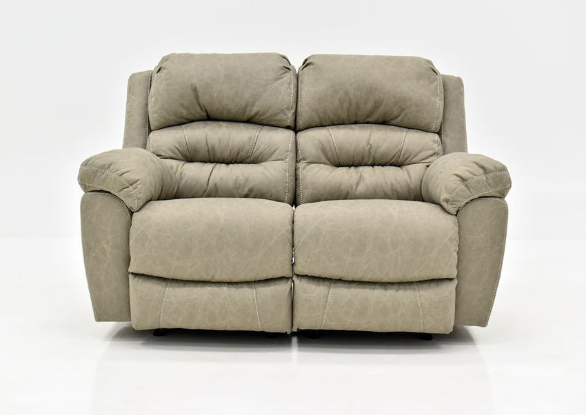 Tan Bella Reclining Loveseat by Franklin Furniture Showing the Front View, Made in the USA | Home Furniture Plus Bedding