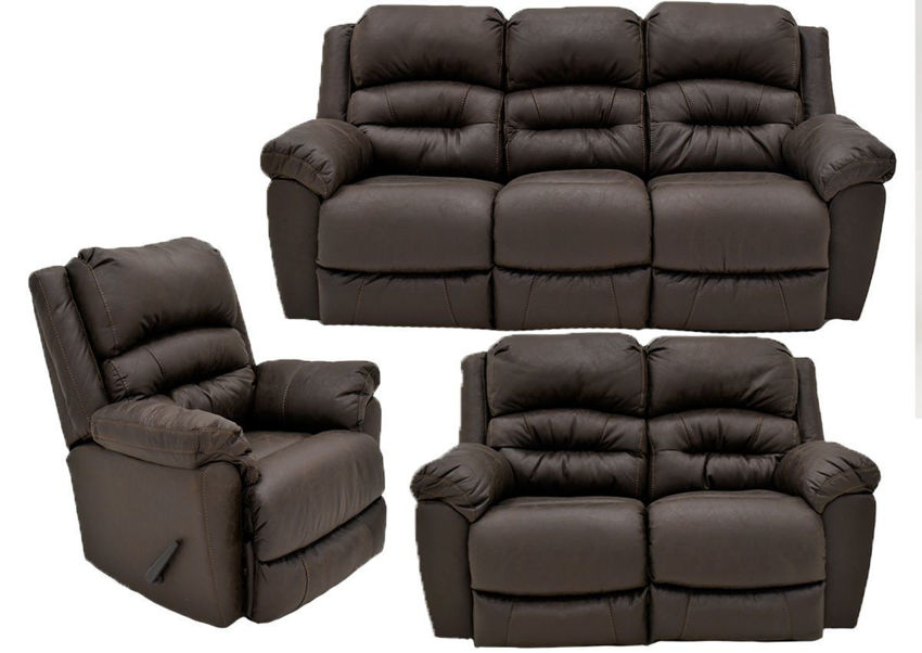 Dark Brown Bella Reclining Sofa Set by Franklin Furniture. Showing the Group. Made in the USA | Home Furniture Plus Bedding
