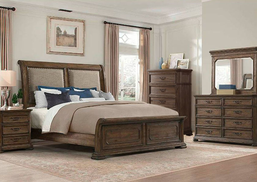 Hickory Brown Casa Grande King Size Bedroom Set by Lane Home Furnishings Showing a Room Setting, Made in the USA | Home Furniture Plus Bedding
