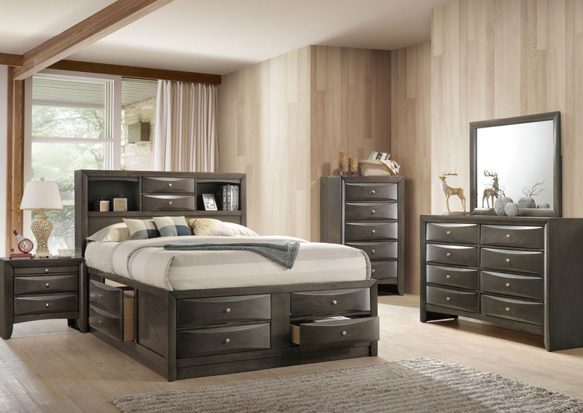 Gray Emily King Size Bedroom Set by Crown Mark Showing a Room Setting | Home Furniture Plus Bedding