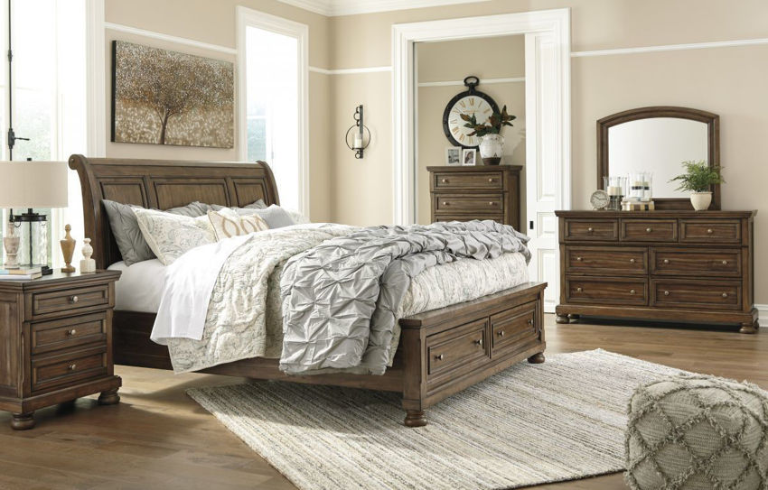 Warm Brown Flynnter King Size Bedroom Set by Ashley Showing the Room View | Home Furniture Plus Bedding