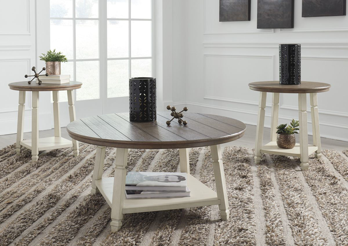 - Bolanbrook 3 Piece Coffee Table Set - Two-Tone Home Furniture
