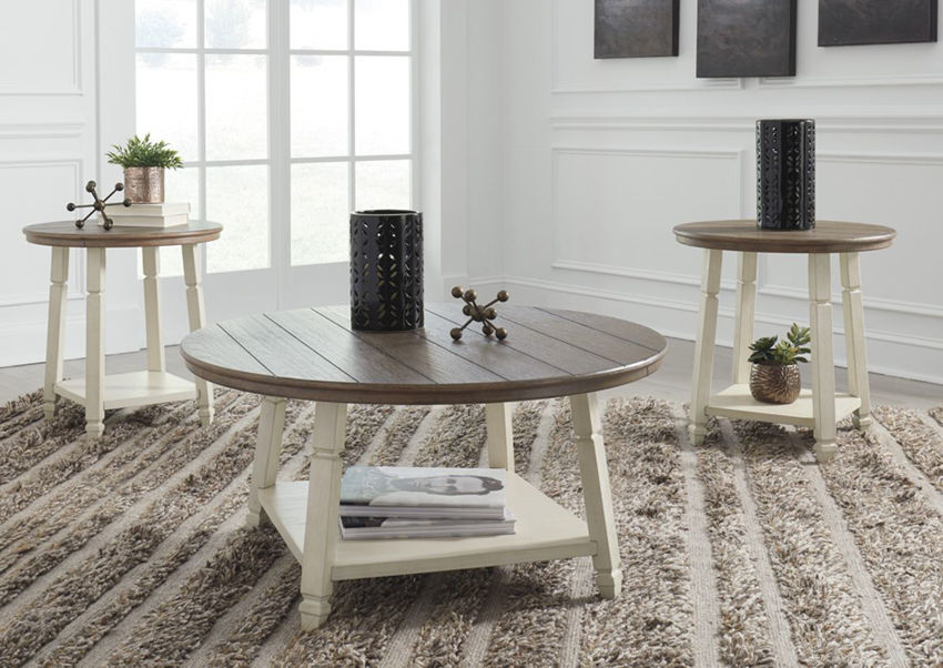 Two-Tone Brown and White Bolanbrook 3 Piece Coffee Table Set by Ashley Furniture Showing a Room Setting | Home Furniture Plus Bedding