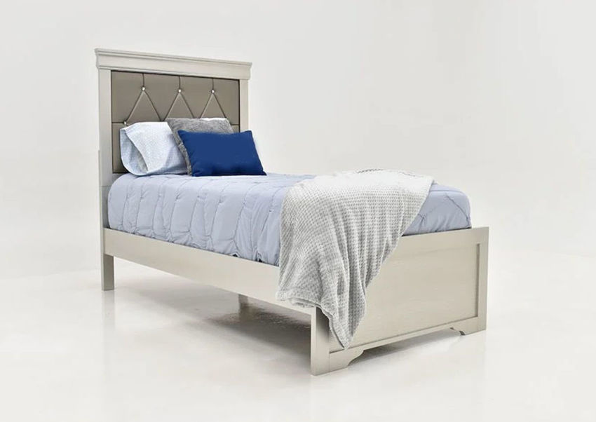 Silver Amalia Twin Size Upholstered Bed by Crown Mark Showing the Angle View | Home Furniture Plus Bedding