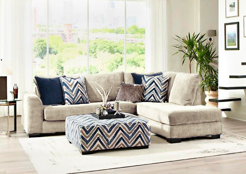 Gray Prowler Small Sectional Sofa by Albany Industries Showing a Room Setting, Made in the USA | Home Furniture Plus Bedding