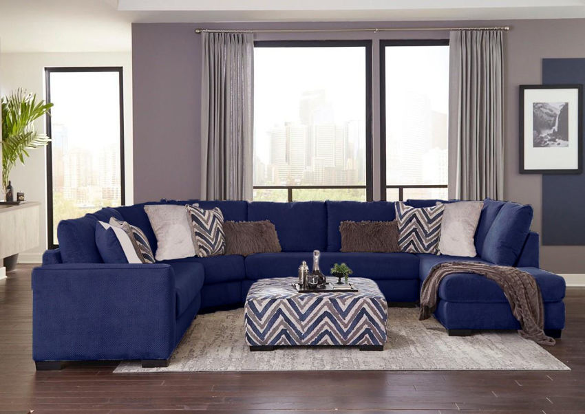 Navy Blue Prowler Large Sectional Sofa by Albany Industries Showing a Room Setting, Made in the USA | Home Furniture Plus Bedding