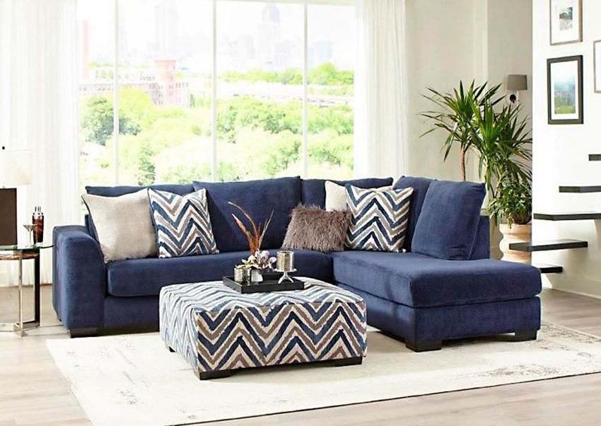 Navy Blue Prowler Small Sectional Sofa by Albany Industries Showing a Room Setting, Made in the USA | Home Furniture Plus Bedding