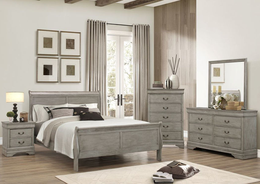 Gray Louis Philippe King Size Bedroom Set Showing a Room Setting | Home Furniture Plus Bedding