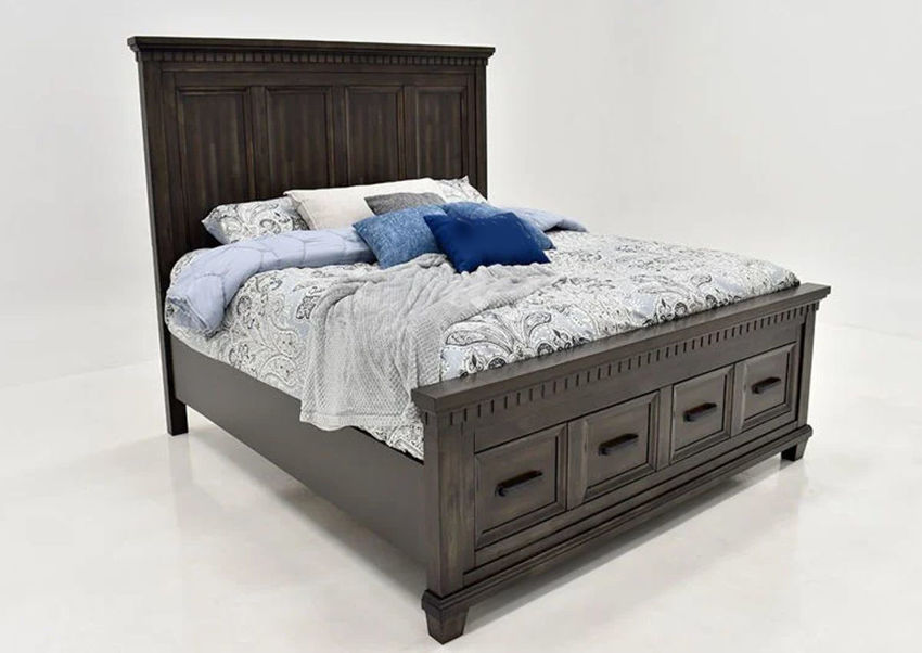 Dark Brown McCabe Queen Size Storage Bed by Elements Showing the Angle View | Home Furniture Plus Bedding