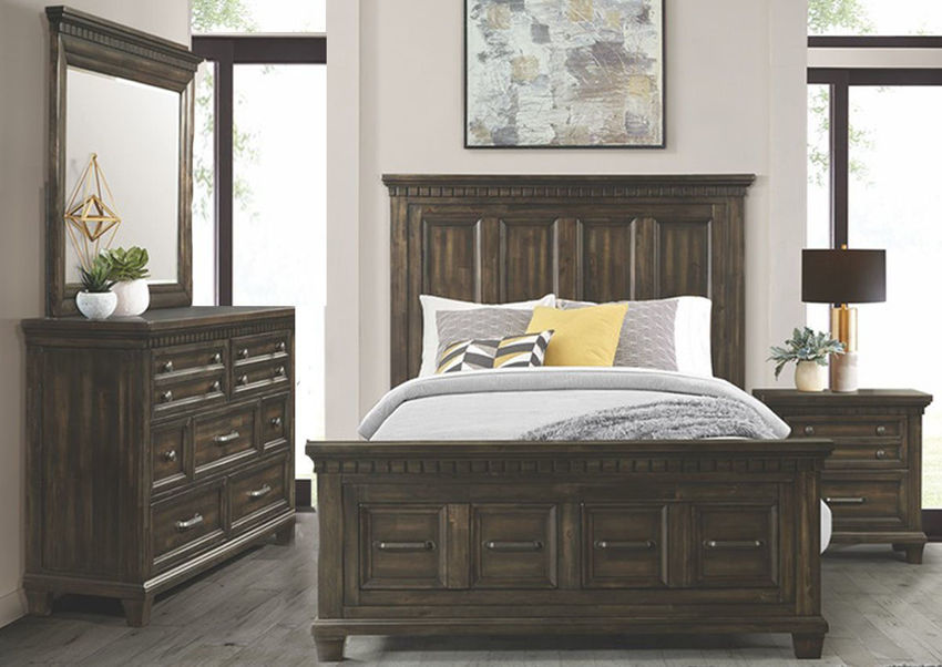 Dark Brown McCabe Queen Size Storage Bedroom Set with Bed, Dresser with Mirror and Nightstand | Home Furniture Plus Bedding