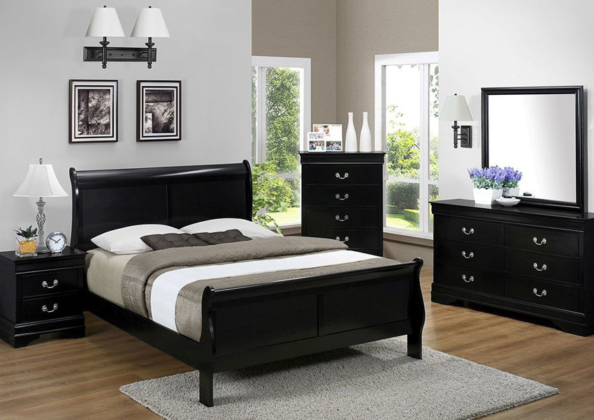 Picture of Louis Philippe King Size Bedroom Set - Black