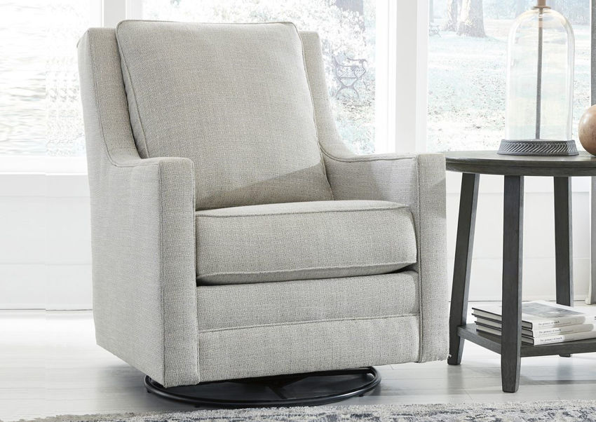 Ivory Kambria Swivel Glider Accent Chair by Ashley Furniture in a Room Setting | Home Furniture Plus Bedding