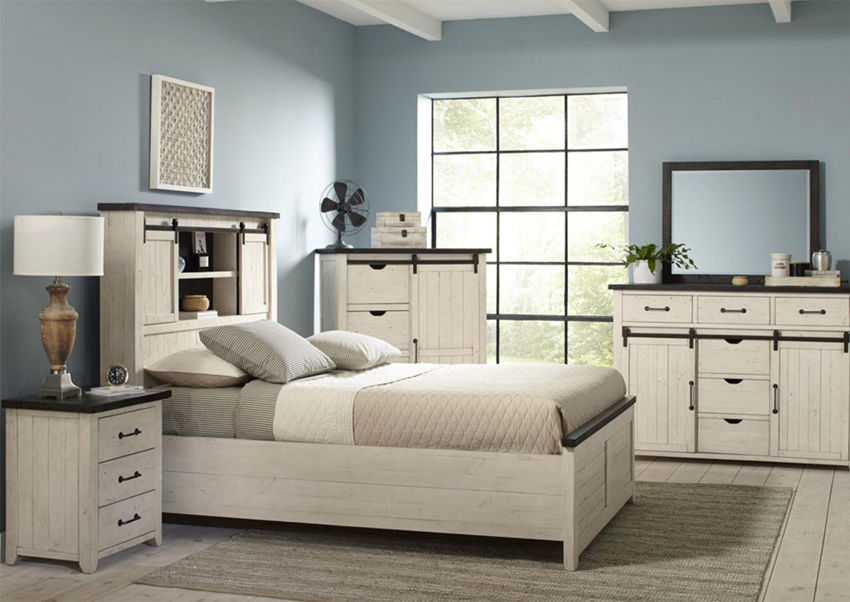 Antique White Madison County King Size Bedroom Set by Jofran Showing a Room Setting | Home Furniture Plus Bedding