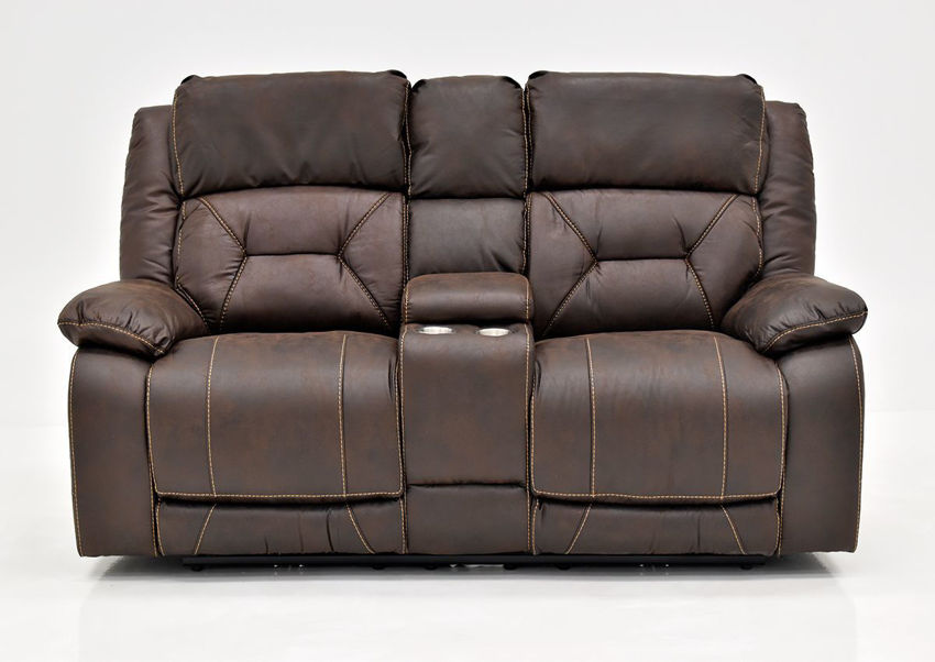 Brown Aria POWER Reclining Loveseat by Steve Silver Showing the Front View | Home Furniture Plus Bedding