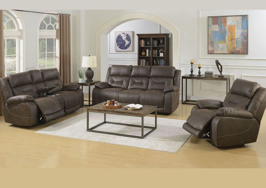 Dark Brown Aria POWER Reclining Sofa Set by Steve Silver Showing the Room Setting | Home Furniture Plus Bedding