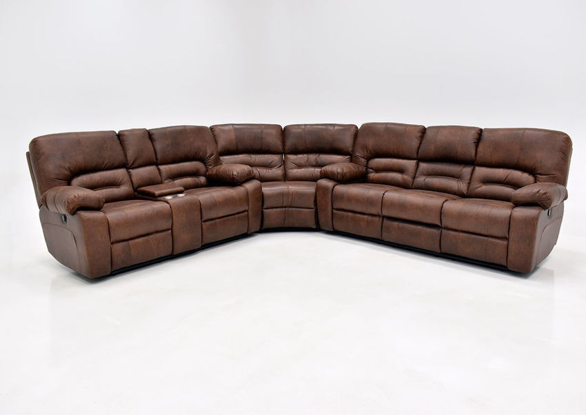 Warm Pecan Brown Gallagher Reclining Sectional Sofa by Kinsmen East Showing the Front View | Home Furniture Plus Bedding