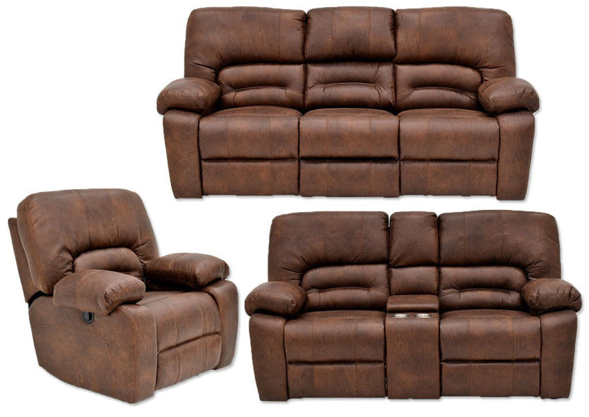 Warm Pecan Brown Gallagher Reclining Sofa Set by Kinsmen East Showing the Group | Home Furniture Plus Bedding