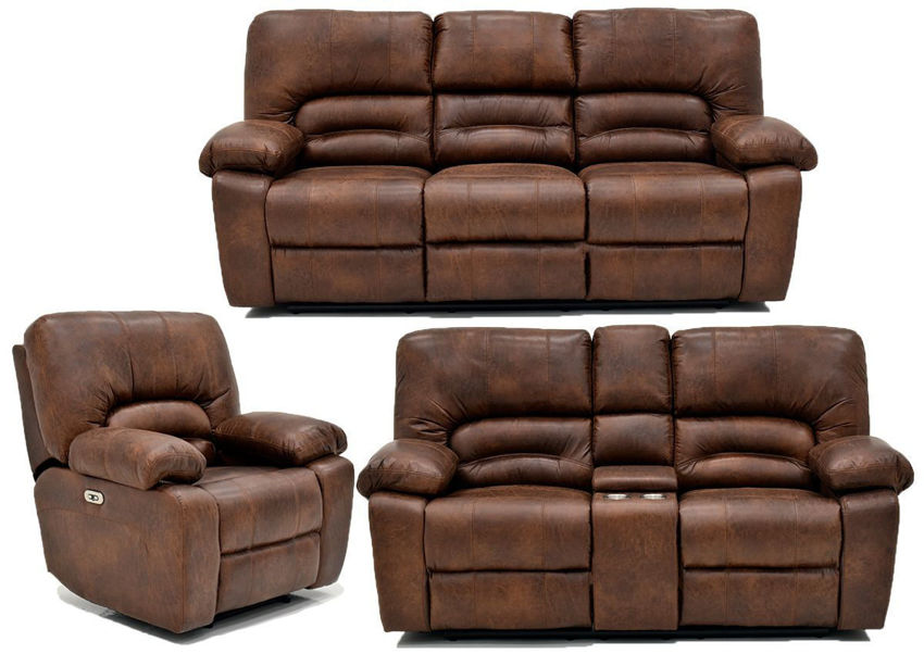 Warm Pecan Brown Gallagher POWER Reclining Sofa Set by Kinsmen East Showing the Group | Home Furniture Plus Bedding