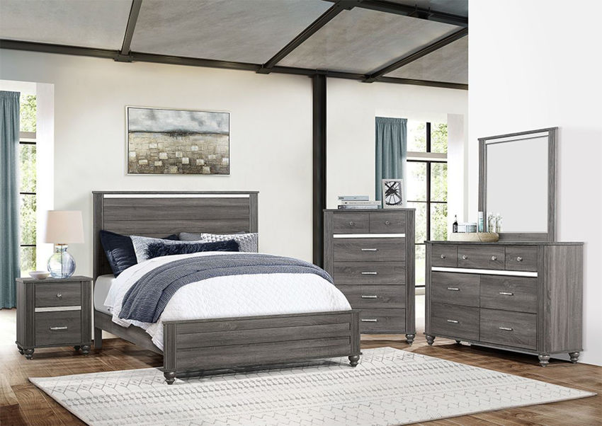 Room Shot of the Gray Gaston King Size Bedroom Set by Crown Mark | Home Furniture Plus Bedding
