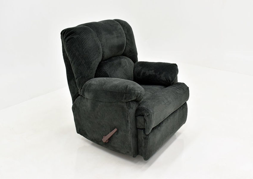 Slate Gray Feel Good Rocker Recliner by Behold Showing the Angle View, Made in the USA | Home Furniture Plus Bedding