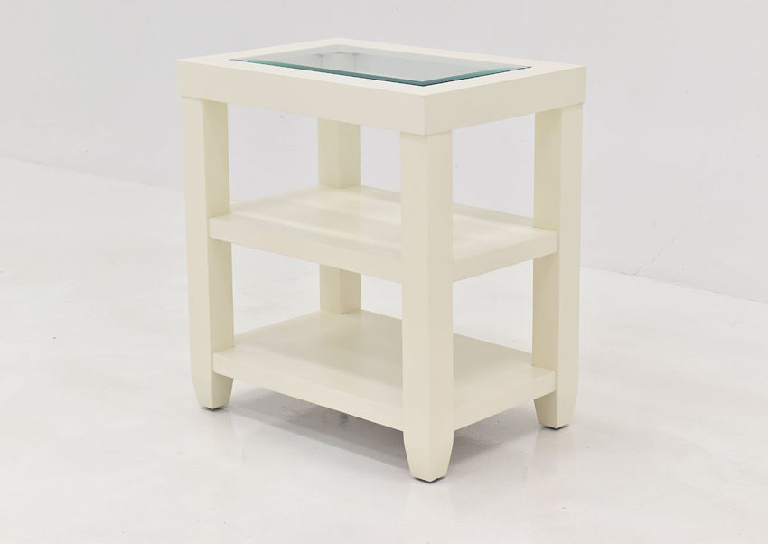 Crisp White Urban Chairside Table by Jofran Showing the Front View | Home Furniture Plus Bedding