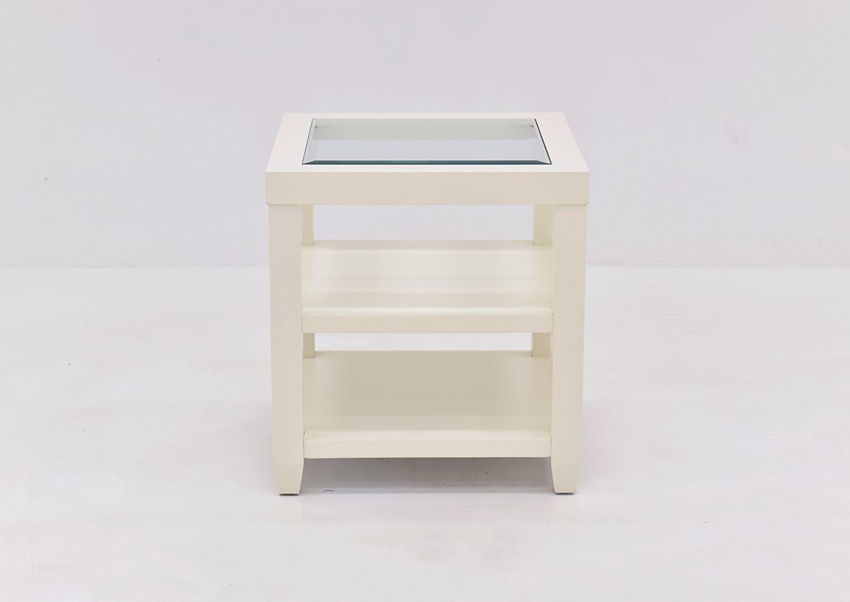 Crisp White Urban End Table by Jofran Showing the Front View | Home Furniture Plus Bedding