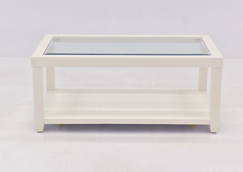 Crisp White Urban Coffee Table by Jofran Showing the Front View | Home Furniture Plus Bedding