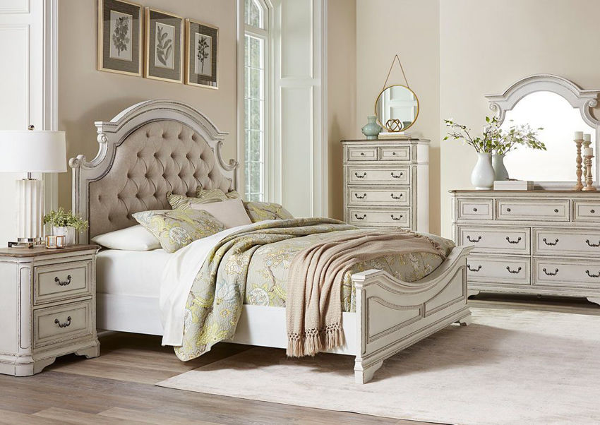 Antique White Stevenson Manor King Size Bedroom Set by Standard Showing the Room Setting | Home Furniture Plus Bedding