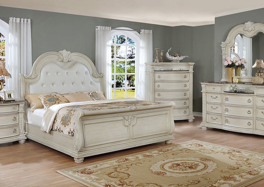 White Stanley King Size Bedroom Set by Crown Mark Showing the Room View | Home Furniture Plus Bedding