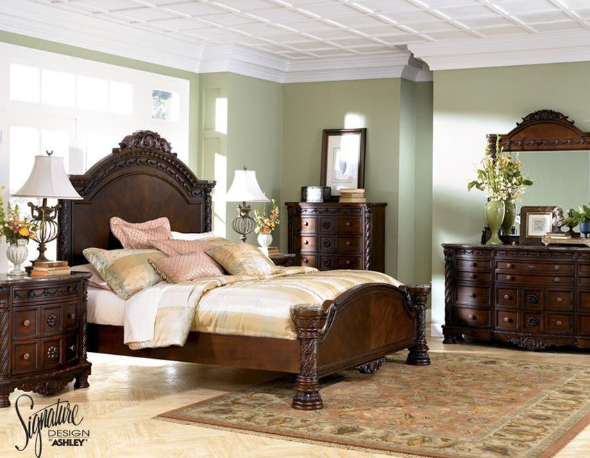 Warm Brown North Shore King Size Bedroom Set by Ashley Furniture Showing the Room Setting  | Home Furniture Plus Bedding